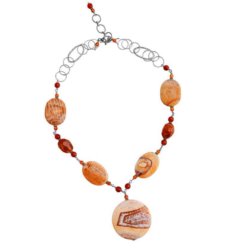 "Gorgeous Sedona Agate and Carnelian Sterling Silver Necklace 20"" - 22"""