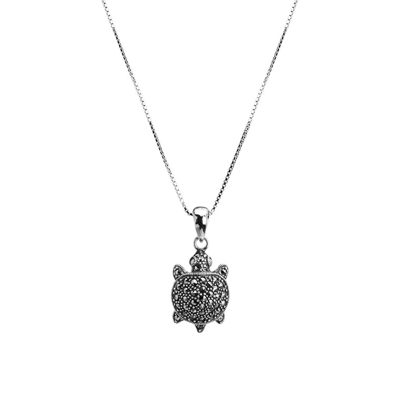 Cute Marcasite Turtle Sterling Silver Necklace