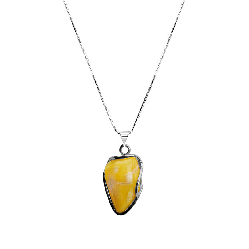 Beautiful Butterscotch Baltic Amber Sterling Silver Necklace