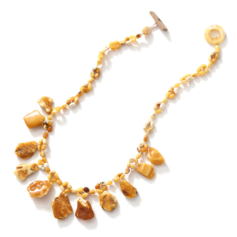 Dancing Butterscotch Amber Drops Statement Necklace
