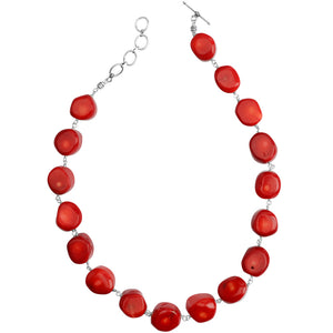 Bright, Bold Coral Nuggets Sterling Silver Toggle Necklace