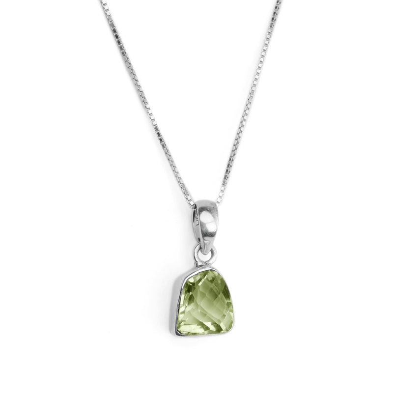 Glittering Green Amethyst Pendant on Italian Rhodium Plated Sterling Silver Necklace