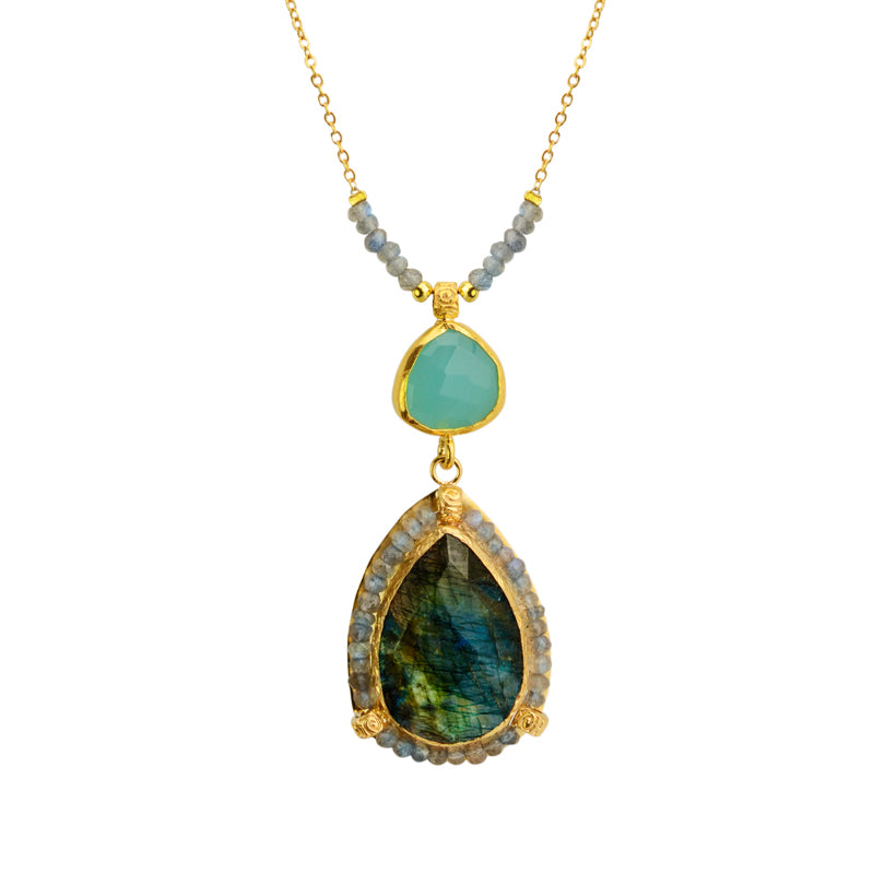 Gorgeous Faceted Labradorite and Chalcedony Gold Plated Sterling Silver Statement Necklace