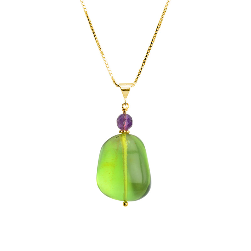 Exceptionally Clear Large Green Caribbean Amber Globe with Amethyst Accent on Italian Vermeil Necklace 18