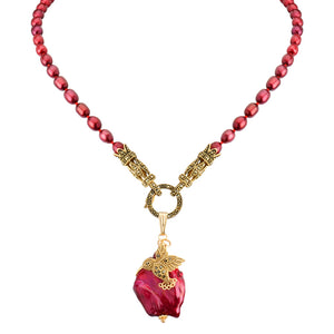 Adorable Gold Marcasite Hummingbird on Ruby Red Pearls Neckline