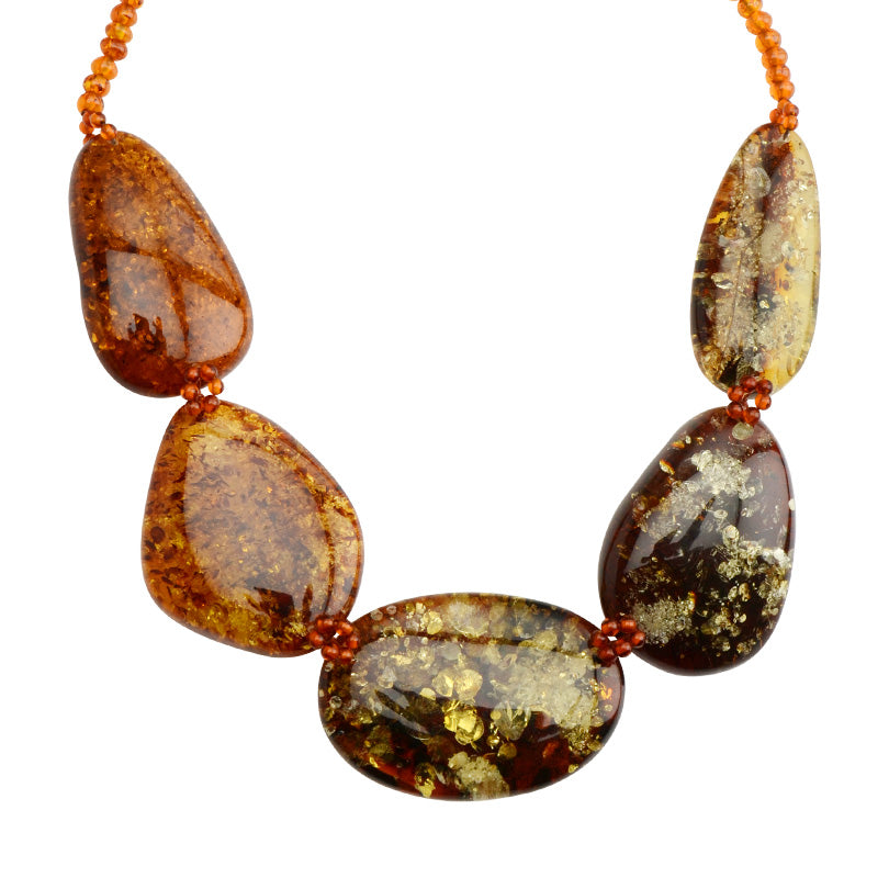 "Wow! Beautiful Large Gorgeous Cognac Baltic Amber Stones Statement Necklace 18""-one of a kind"