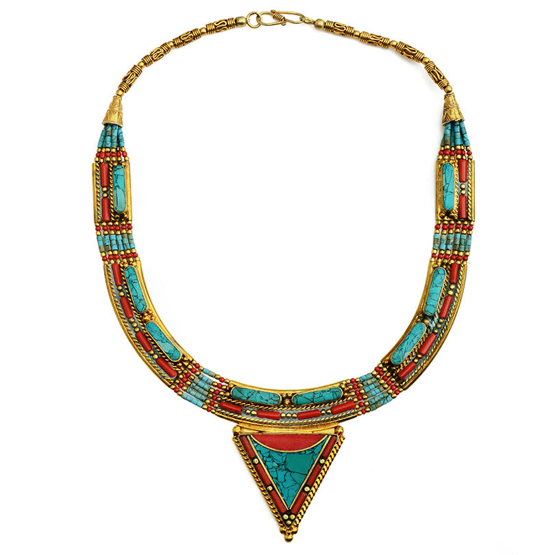 Wow! Beautiful Gold Himalayan Coral and Turquoise Double Gold Plated Nepal Necklace