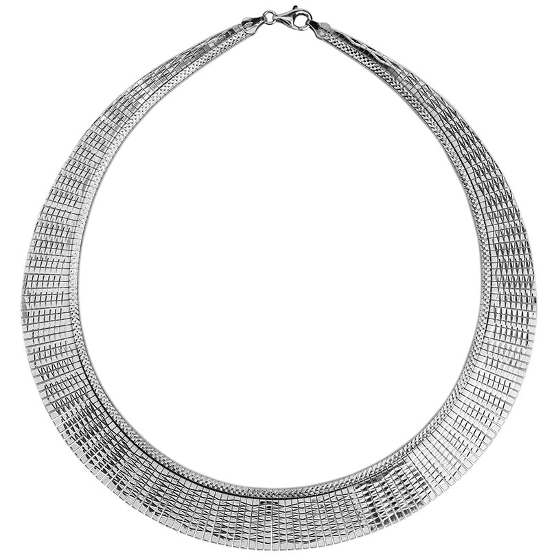 Elegant Cleopatra Style Rhodium Plated Sterling Silver Italian Necklace 17""