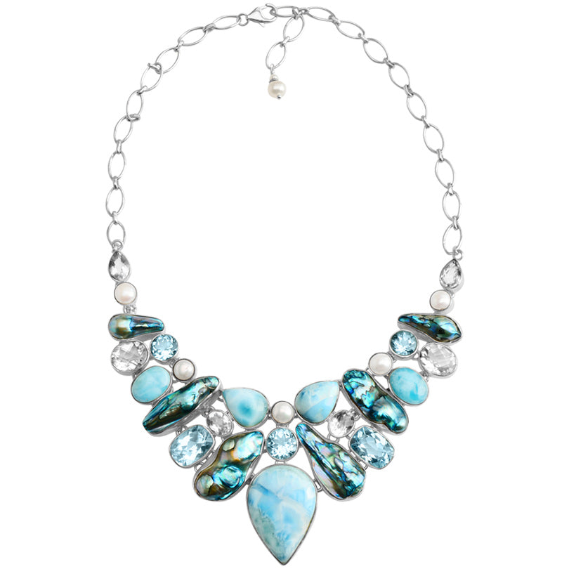 Caribbean Larimar, Pearls & , Blue Topaz In a Sterling Silver Statement Necklace