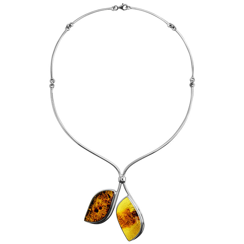 Polish Designer Natural Shades of Cognac Baltic Amber Sterling Silver Statement Necklace Necklace