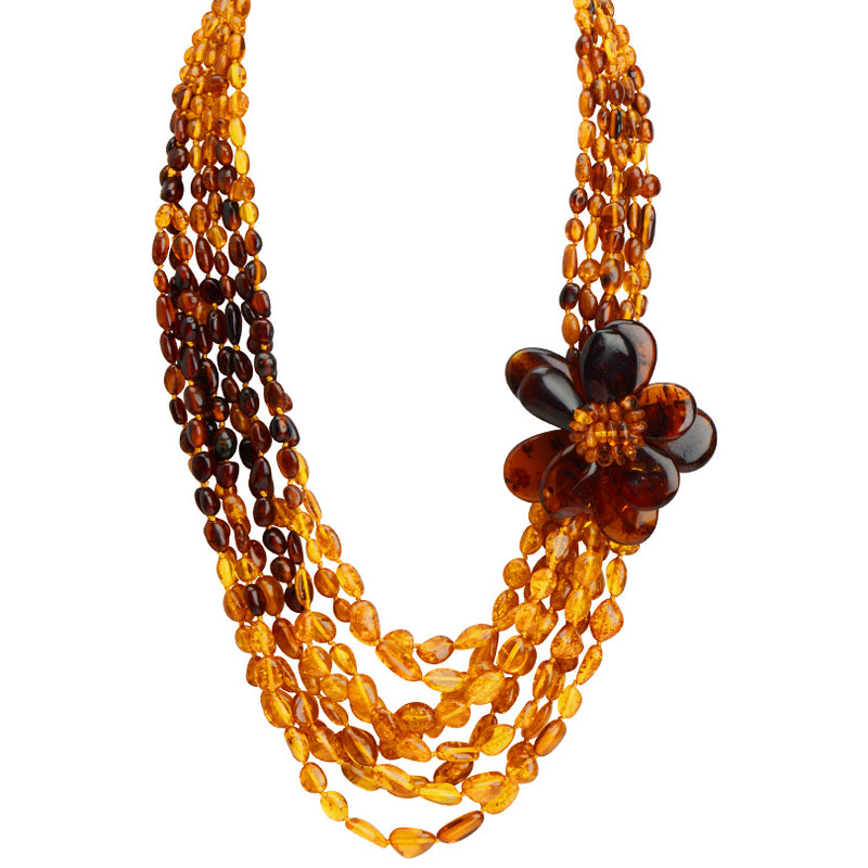 Truly Beautiful Polish Designer Cognac Baltic Amber Flower Statement Necklace 19