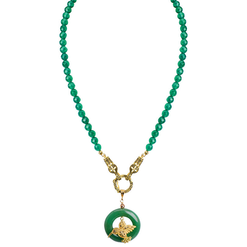 Whimsical Hummingbird on Green Jade Circle Gold Plated Statement Necklace