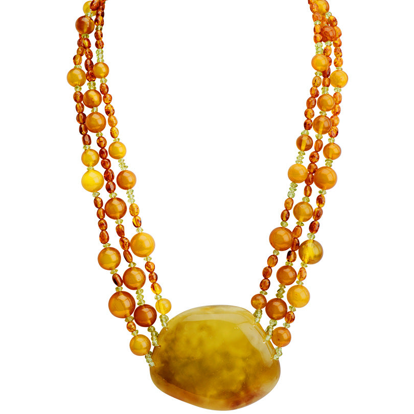 Polish Designer Amazing Golden Magnificent Stone Statement Necklace 19""