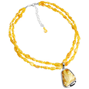 Gorgeous Butterscotch Baltic Amber Sterling Silver Necklace