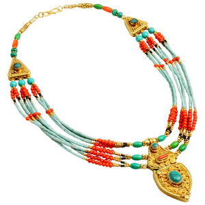Fantastic 24kt Nepal Gold Plated Himalayan Coral & Turquoise Statement Necklace
