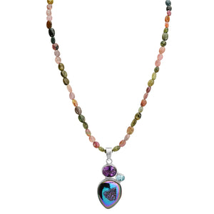 "Titanium Drusy With Gemstones on Tourmaline Neckline Necklace 17"" - 18"""