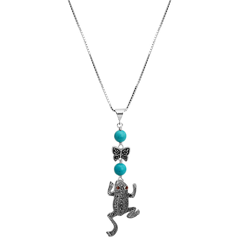 Adorable Turquoise and Marcasite Sterling Silver Frog Necklace