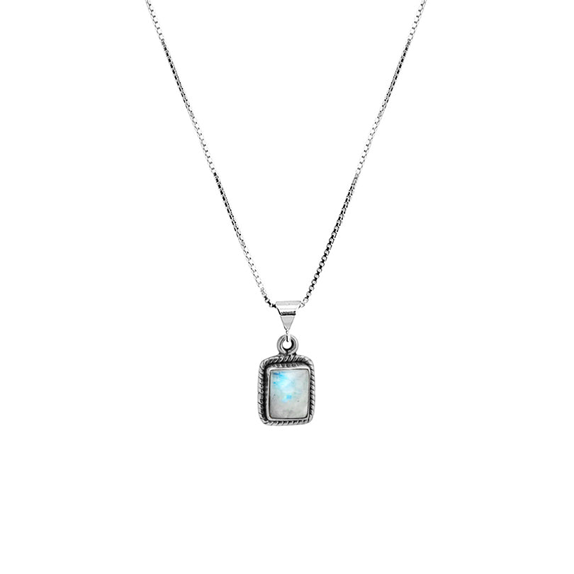 "Petite Rainbow Moonstone Sterling Silver Necklace 16"" - 18"""