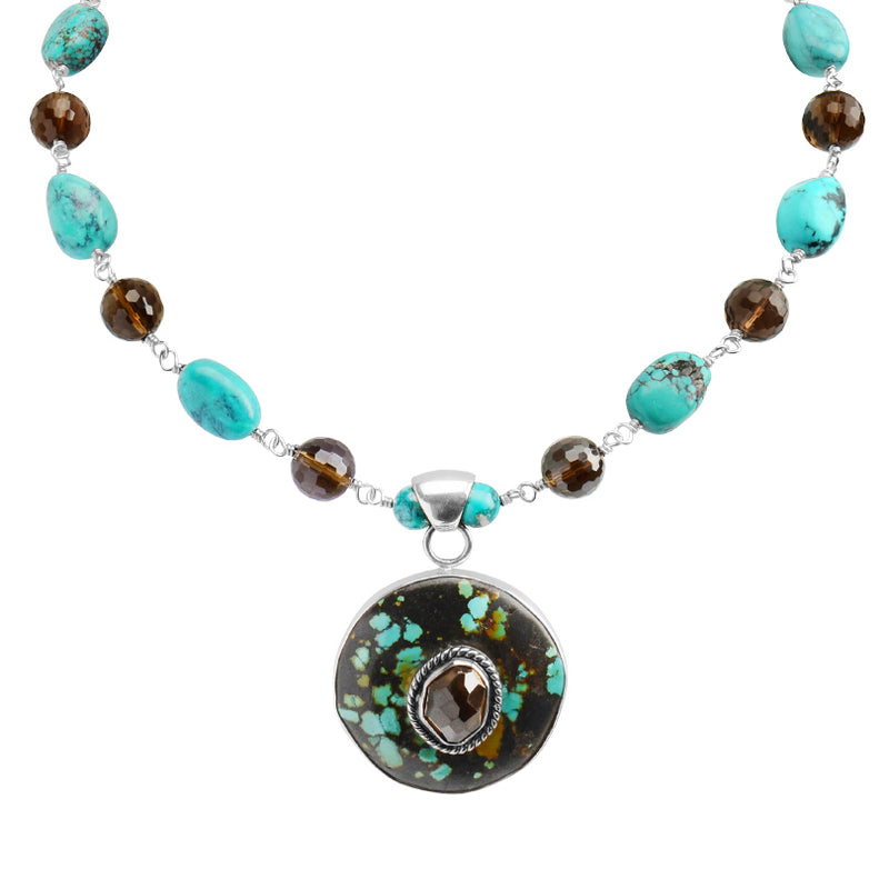 Genuine Turquoise and Smoky Quartz Sterling Silver Necklace 16