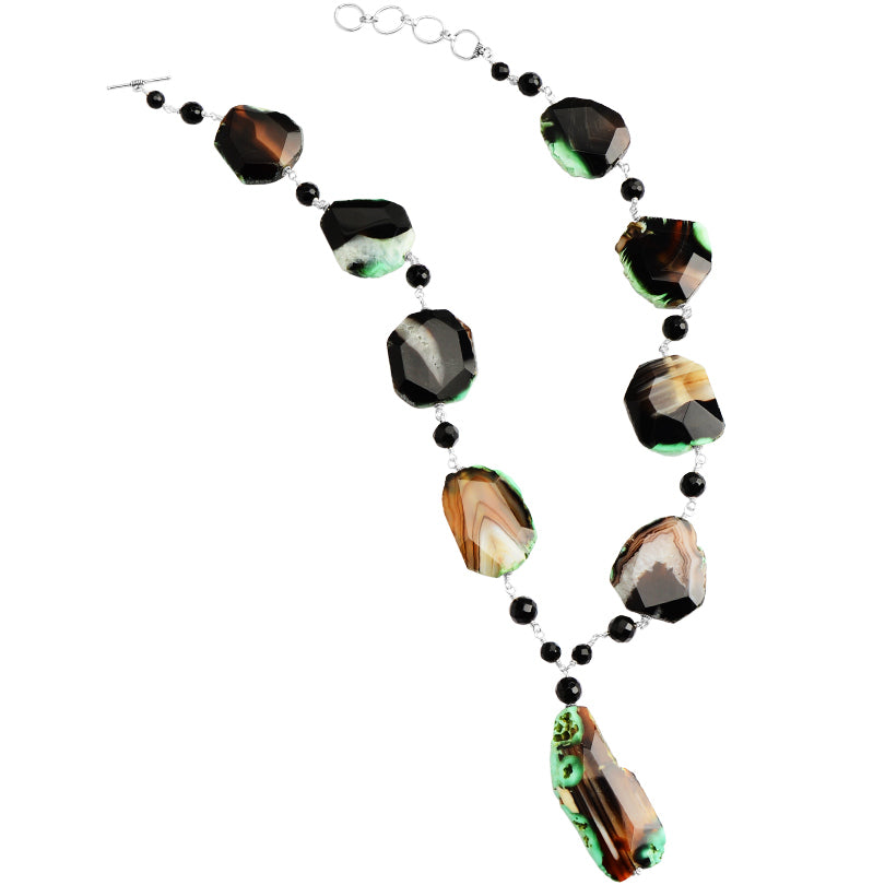 "Designed By Nature Amazingly Beautiful Green Agate Sterling Silver Statement Necklace 21"" - 23"""