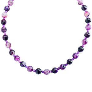Gorgeous Purple Agate & Amethyst Sterling Silver Necklace