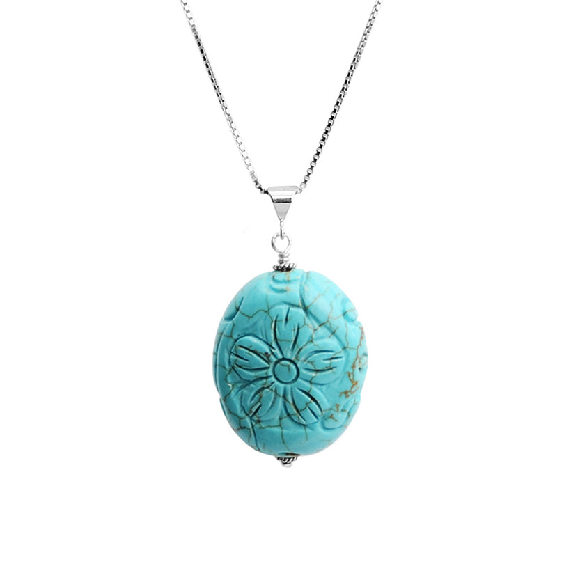 Lovely Chalk Turquoise Carved Flower Sterling Silver Flower Necklace
