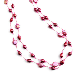 Gorgeous Rose Color Coin Pearls & Red Fresh Water Pearl Silk Knotted Statement Necklace 50""