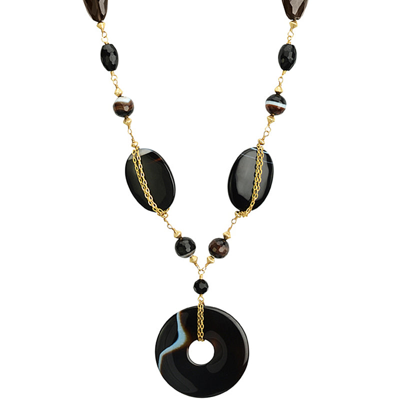 Gorgeous Black Onyx and Smoky Quartz on Sparkling Gold Filled Necklace