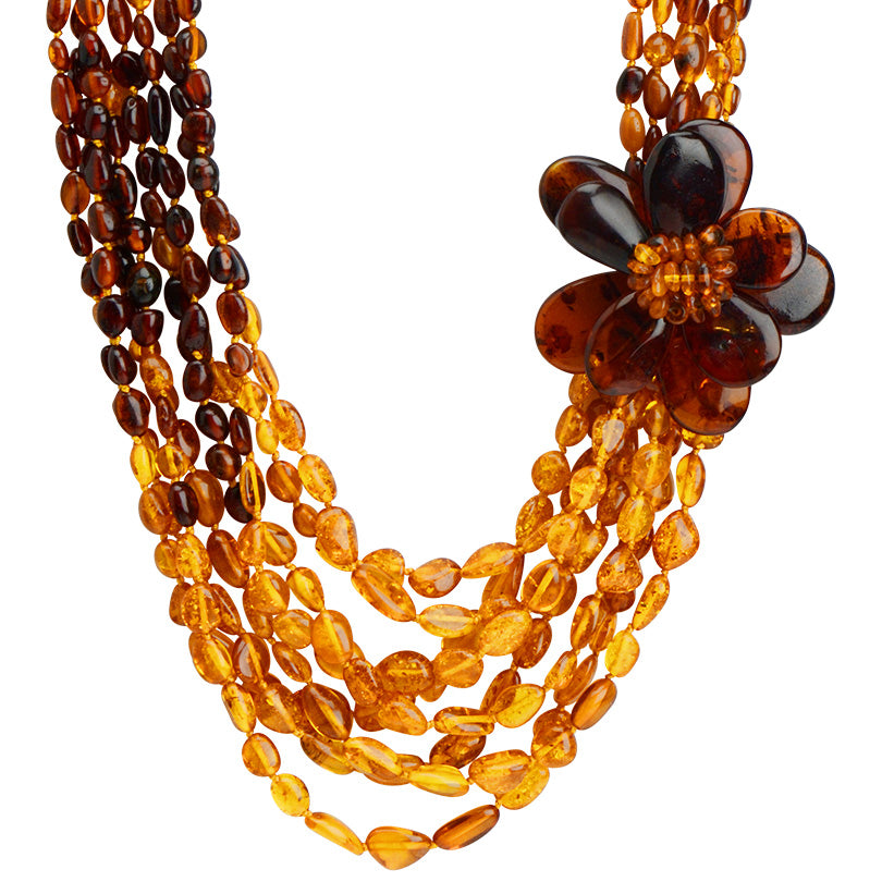 Truly Beautiful Polish Designer Cognac Baltic Amber Flower Statement Necklace 19""