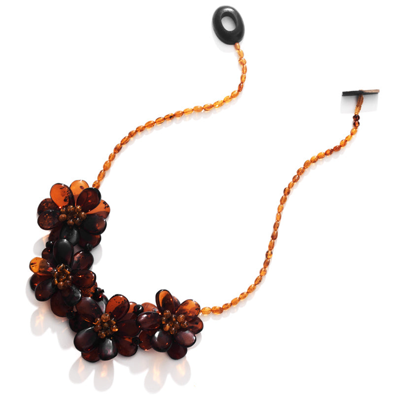 Polish Designer Cherry & Cognac Baltic Amber Flower Statement Necklace