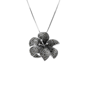 "Larger Marcasite Sterling Silver Flower Necklace 16"" - 18"""