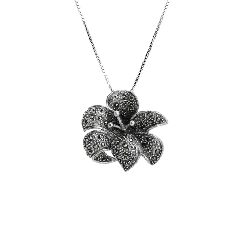 Larger Marcasite Sterling Silver Flower Necklace 16