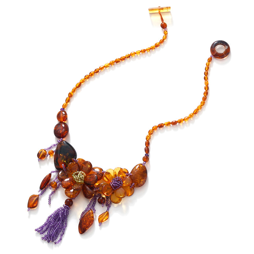 Gorgeous! Cognac Baltic Amber Flower Tassel Statement  Necklace