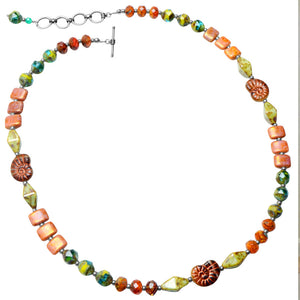Beautiful Mixed Color Stones Sterling Silver Necklace