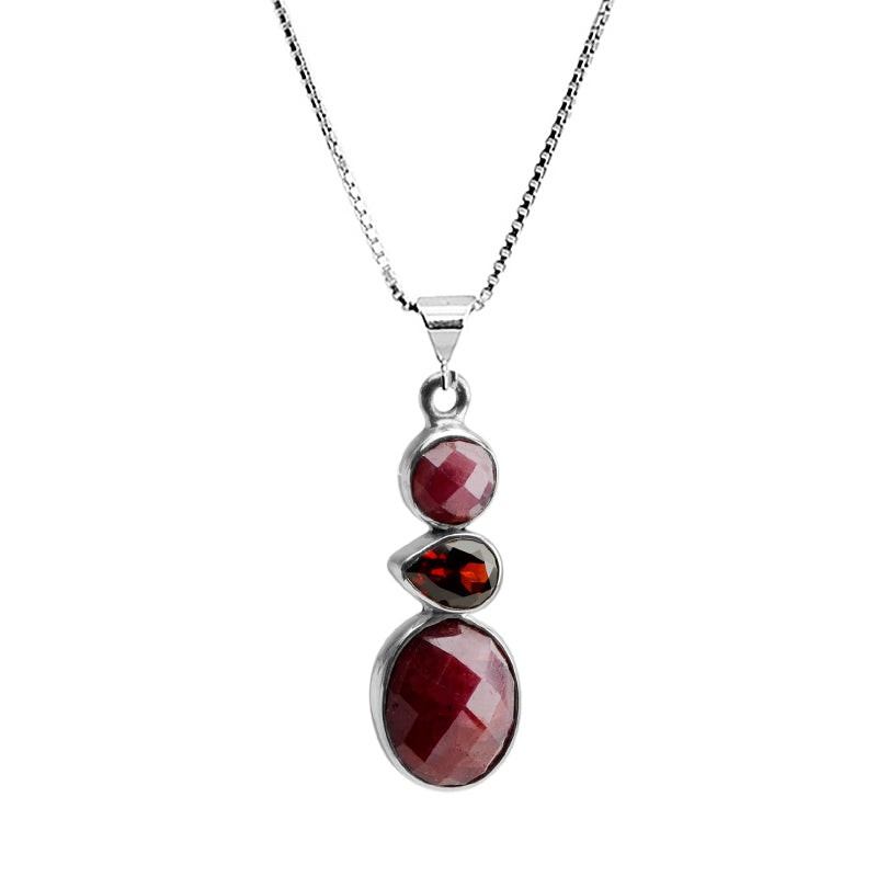Cranberry Corundum and Garnet Sterling Silver Necklace