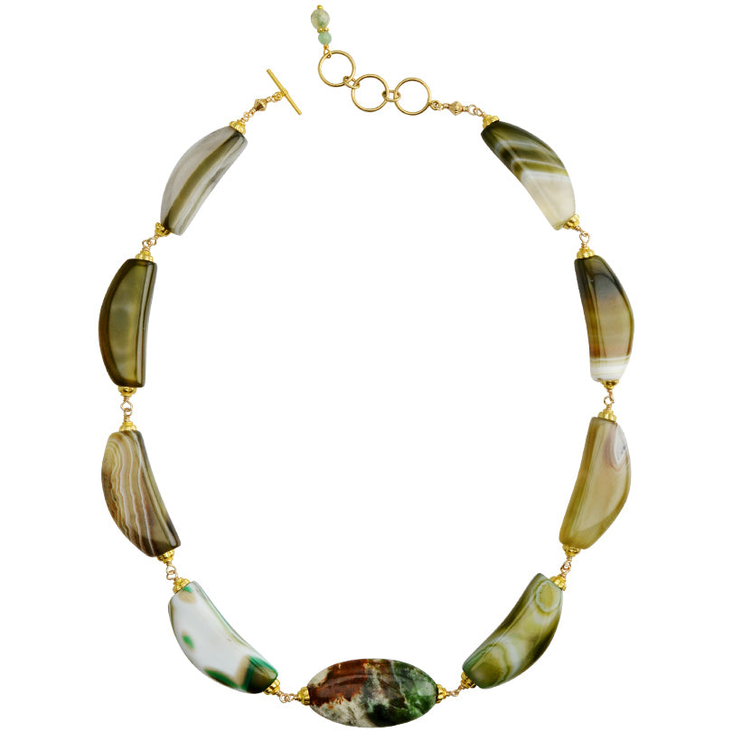 Beyond Gorgeous Natural Green Agate and Jasper Gold Filled Necklace