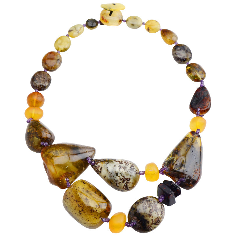 Unique Polissh Designer Baltic Amber and Amethyst Accent Beads Statement Necklace