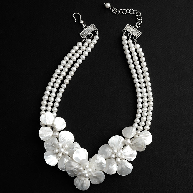 Gorgeous Mother of Pearl and Fresh Water Pearl Flower Statement Necklace