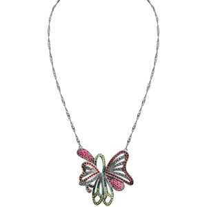 Sparkling Bright Crystal and Marcasite Butterfly Sterling Silver Necklace 16""