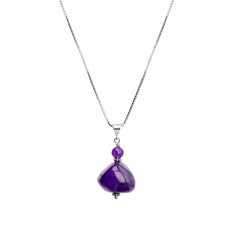 Sleek and Smooth Amethyst Sterling Silver Necklace 16