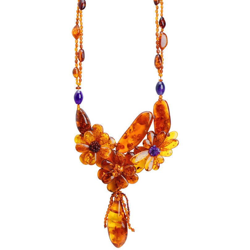 Magnificent Polish Designer Cognac Baltic Amber & Amethyst Flower Statement Necklace