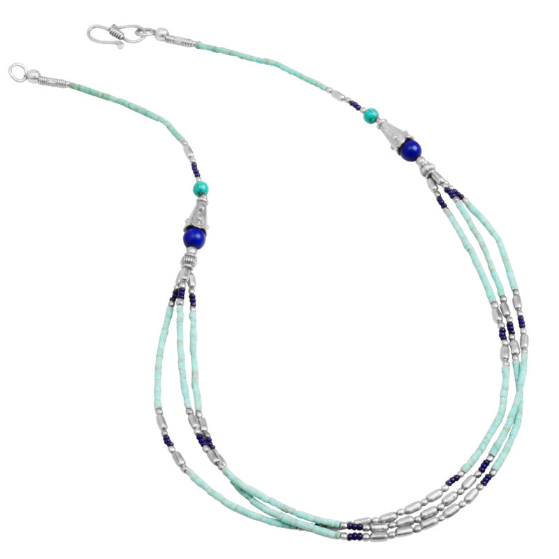 Himalayan Turquoise and Lapis Silver Plated Nepal Necklace