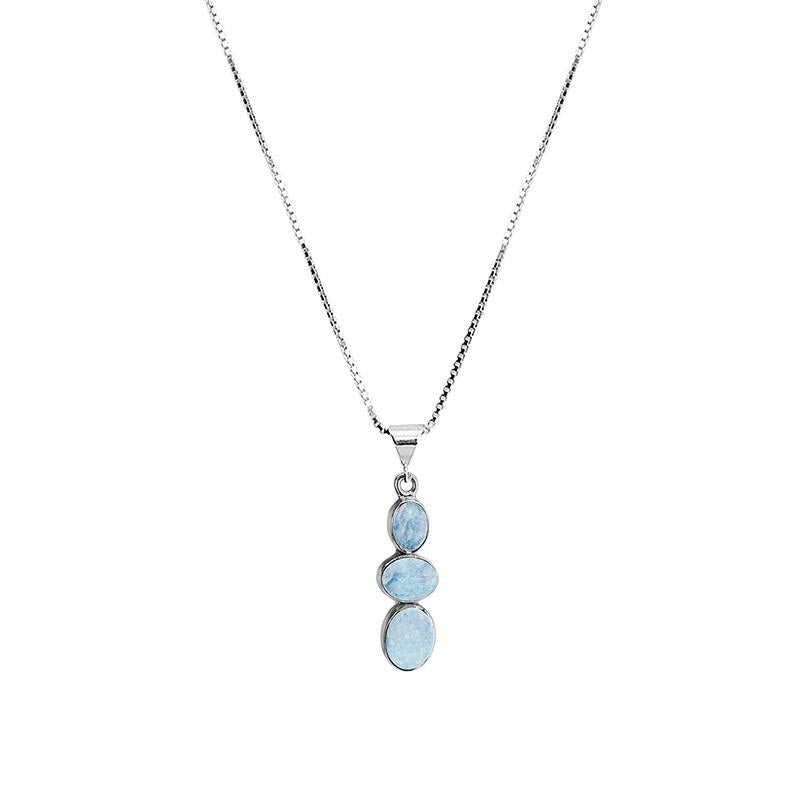 "Petite Australian Blue Opal Sterling Silver Necklace 16"" - 18"""