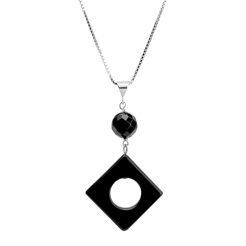 Contemporary Black Onyx Sterling Silver Necklace