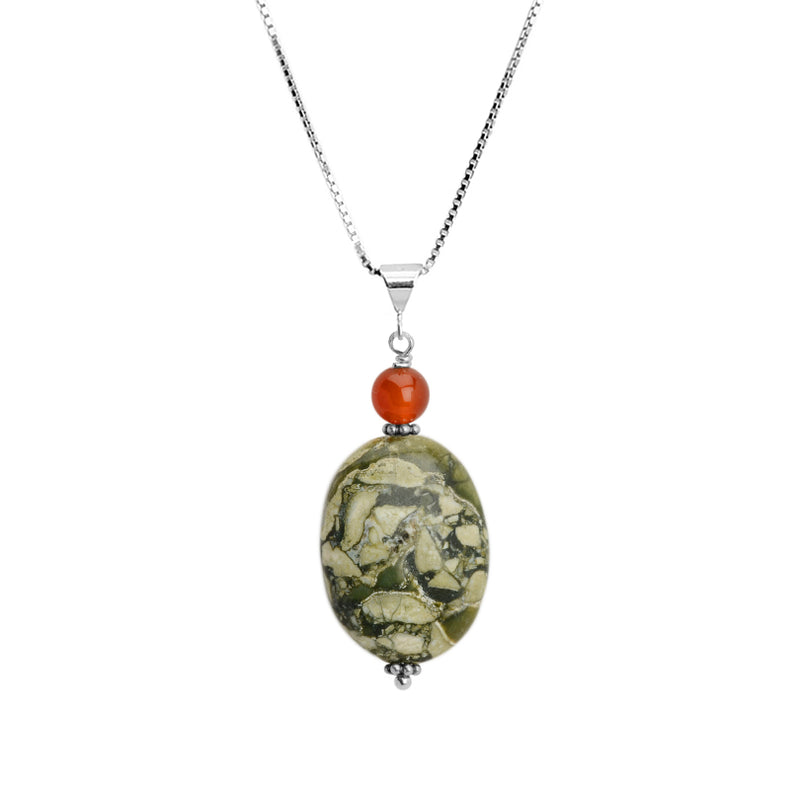 Ocean Jasper and Carnelian Sterling Silver Necklace 16
