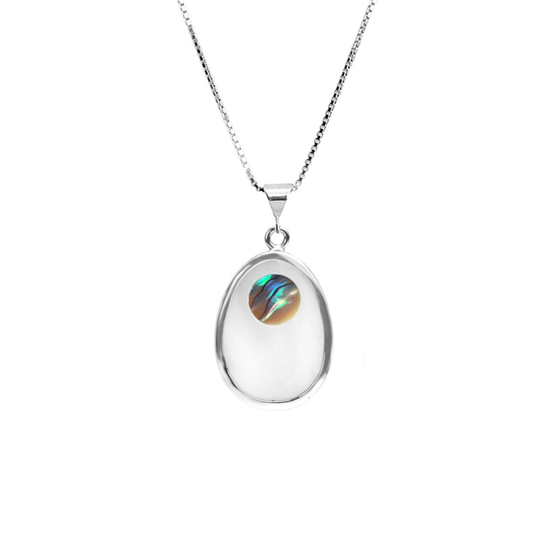 "Mother of Pearl and Abalone Sterling Silver Necklace 16""-18"""