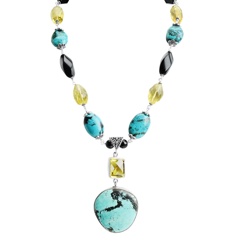 "Unique Turquoise and  Lemon Quartz with Black Onyx Sterling Silver Statement Necklace 17"" - 19"" one of a kind"