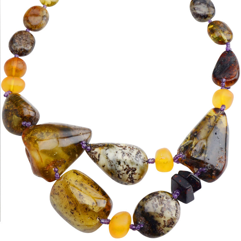 Unique Baltic Amber and Amethyst Accent Beads Statement Necklace