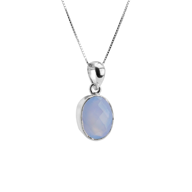 Beautiful Faceted Lavender Chalcedony Sterling Silver Necklace