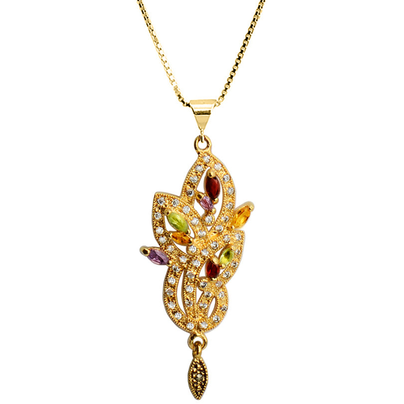 Gorgeous Art Deco Mixed Gemstones with Crystal Gold Plated Necklace